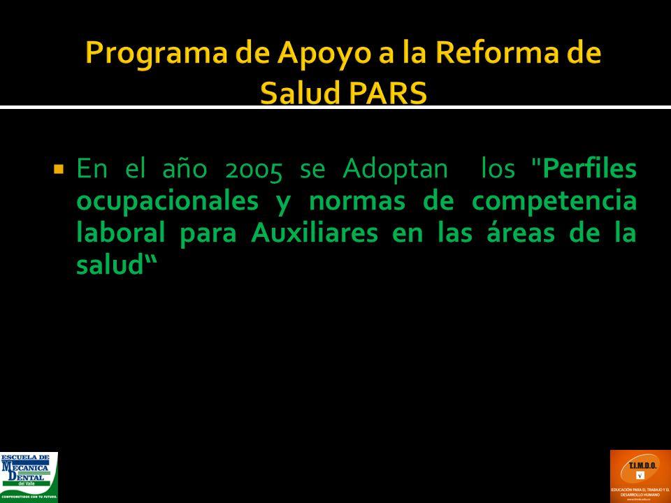 Programa de Apoyo a la Reforma de Salud PARS En el año 2005 se Adoptan los