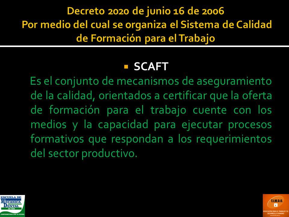 Decreto 2020 de junio 16 de 2006 Por medio del cual se organiza el Sistema de Calidad de Formación para el Trabajo SCAFT Es el conjunto de mecanismos