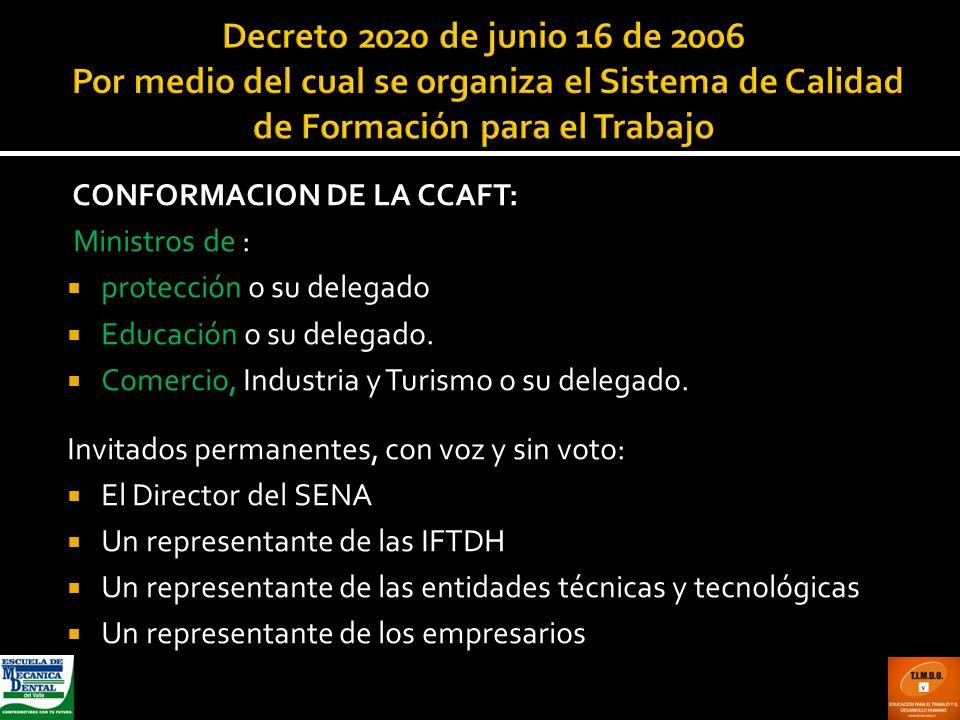 Decreto 2020 de junio 16 de 2006 Por medio del cual se organiza el Sistema de Calidad de Formación para el Trabajo CONFORMACION DE LA CCAFT: Ministros