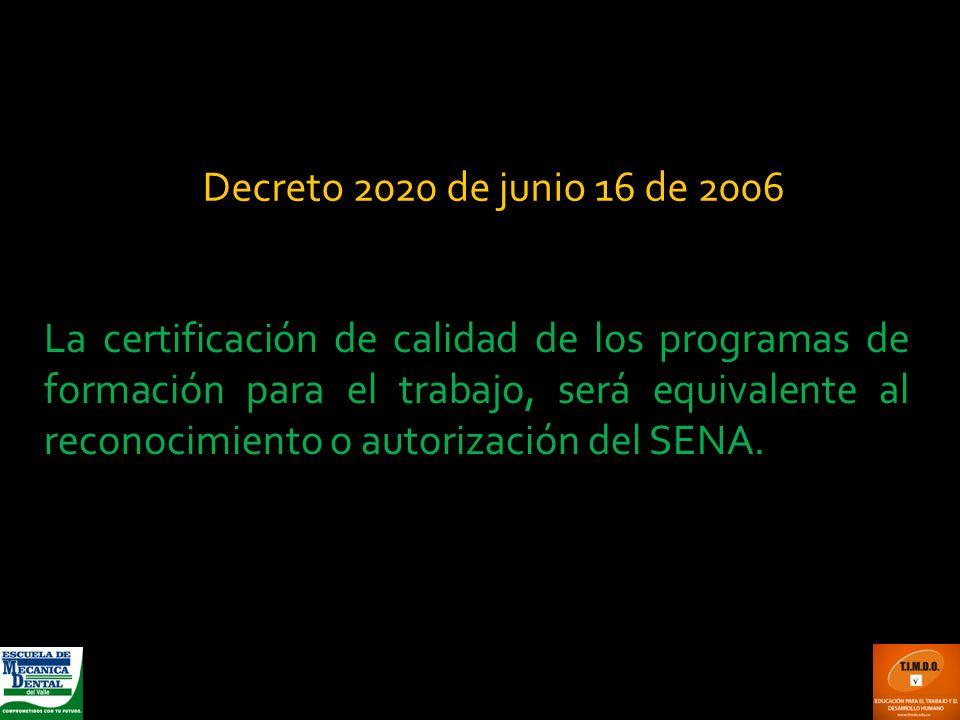 La certificación de calidad de los programas de formación para el trabajo, será equivalente al reconocimiento o autorización del SENA. Decreto 2020 de