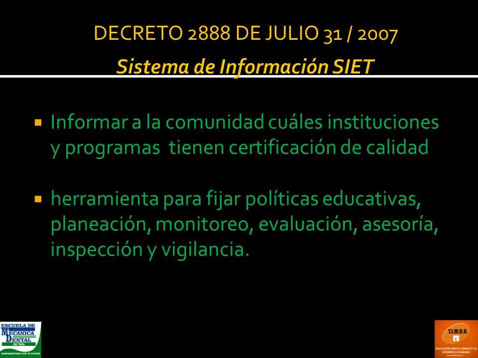 Sistema de Información SIET Informar a la comunidad cuáles instituciones y programas tienen certificación de calidad herramienta para fijar políticas