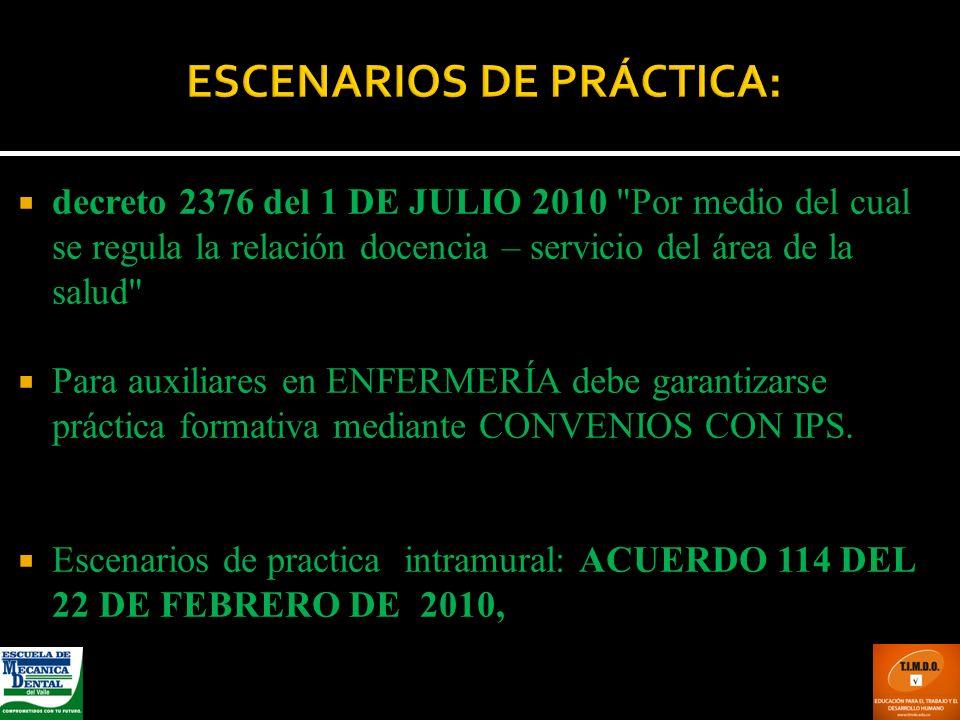 ESCENARIOS DE PRÁCTICA: decreto 2376 del 1 DE JULIO 2010