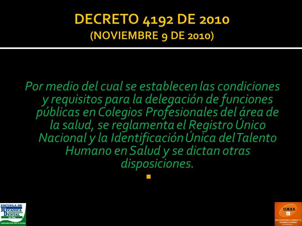 Por medio del cual se establecen las condiciones y requisitos para la delegación de funciones públicas en Colegios Profesionales del área de la salud,