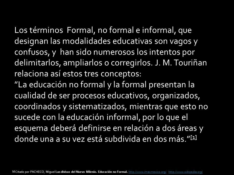 Los términos Formal, no formal e informal, que designan las modalidades educativas son vagos y confusos, y han sido numerosos los intentos por delimit