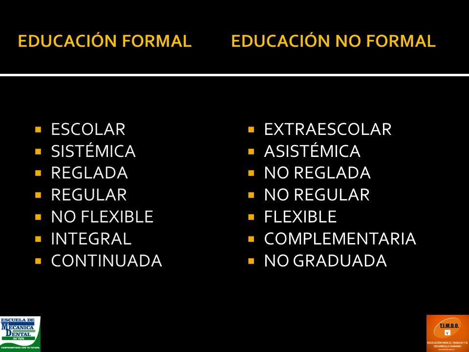 ESCOLAR SISTÉMICA REGLADA REGULAR NO FLEXIBLE INTEGRAL CONTINUADA EXTRAESCOLAR ASISTÉMICA NO REGLADA NO REGULAR FLEXIBLE COMPLEMENTARIA NO GRADUADA