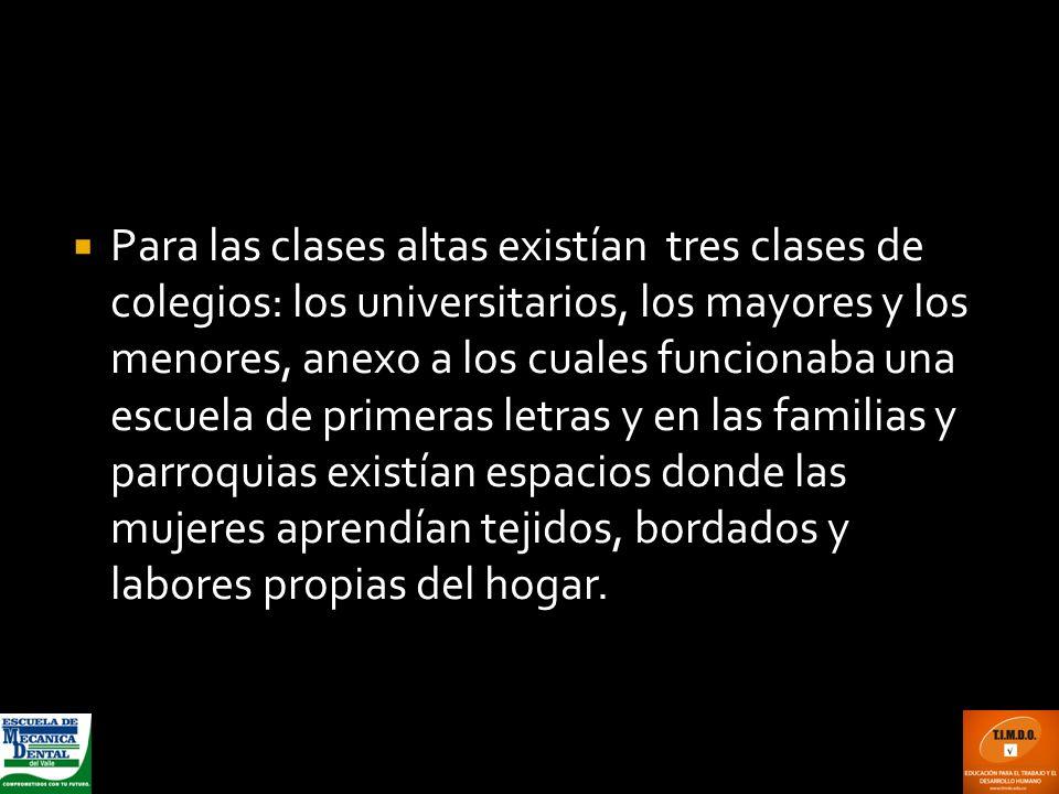 Para las clases altas existían tres clases de colegios: los universitarios, los mayores y los menores, anexo a los cuales funcionaba una escuela de pr