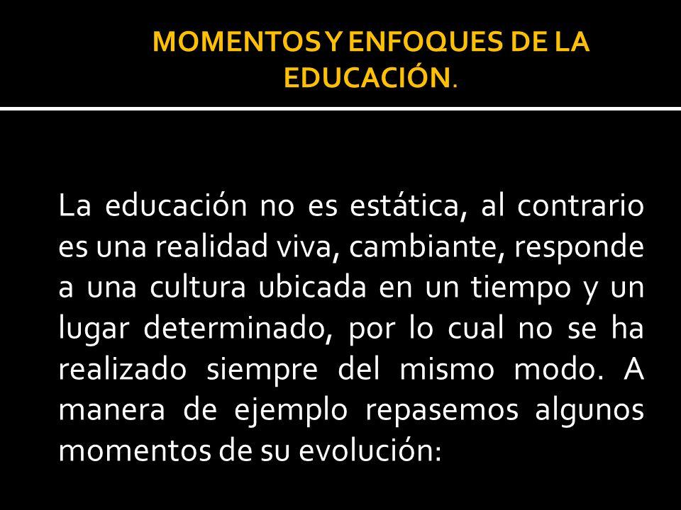 La educación no es estática, al contrario es una realidad viva, cambiante, responde a una cultura ubicada en un tiempo y un lugar determinado, por lo