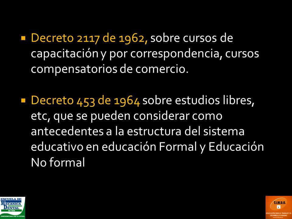 Decreto 2117 de 1962, sobre cursos de capacitación y por correspondencia, cursos compensatorios de comercio. Decreto 453 de 1964 sobre estudios libres