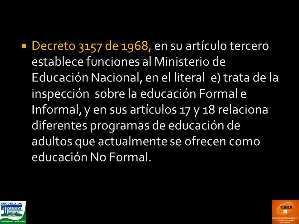 Decreto 3157 de 1968, en su artículo tercero establece funciones al Ministerio de Educación Nacional, en el literal e) trata de la inspección sobre la