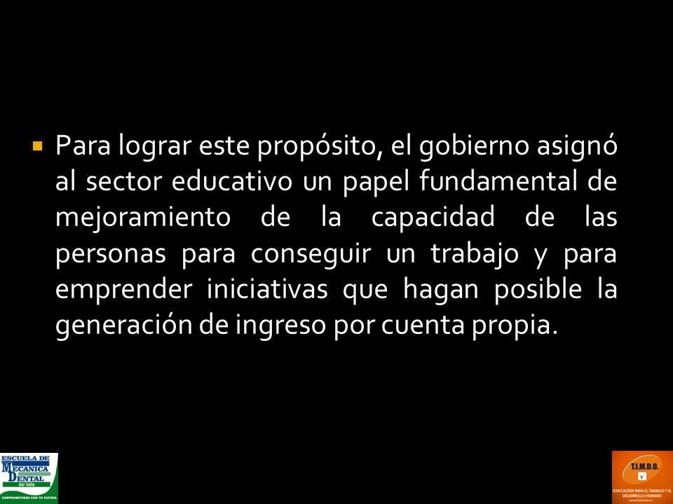 Para lograr este propósito, el gobierno asignó al sector educativo un papel fundamental de mejoramiento de la capacidad de las personas para conseguir