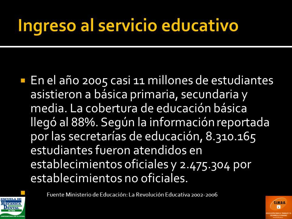 En el año 2005 casi 11 millones de estudiantes asistieron a básica primaria, secundaria y media. La cobertura de educación básica llegó al 88%. Según