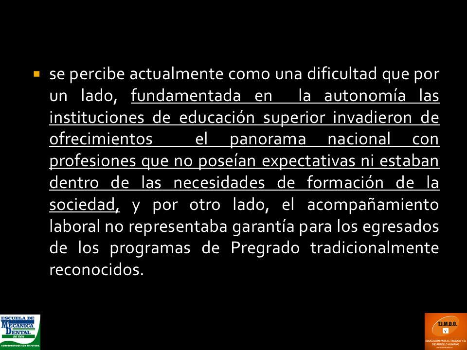 se percibe actualmente como una dificultad que por un lado, fundamentada en la autonomía las instituciones de educación superior invadieron de ofrecim