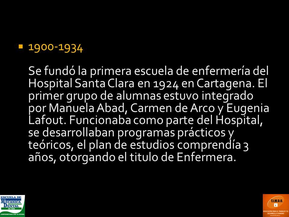 1900-1934 Se fundó la primera escuela de enfermería del Hospital Santa Clara en 1924 en Cartagena. El primer grupo de alumnas estuvo integrado por Man