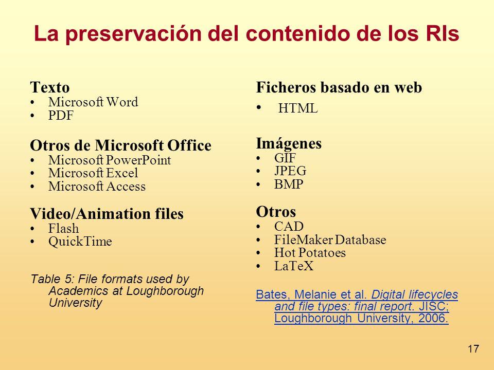 17 La preservación del contenido de los RIs Texto Microsoft Word PDF Otros de Microsoft Office Microsoft PowerPoint Microsoft Excel Microsoft Access V