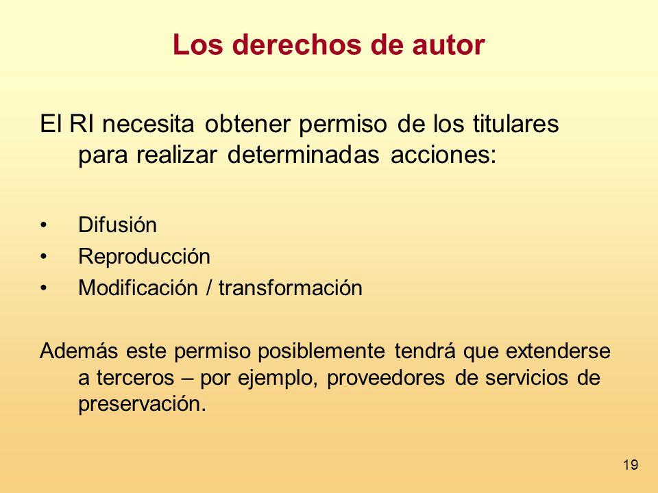 19 El RI necesita obtener permiso de los titulares para realizar determinadas acciones: Difusión Reproducción Modificación / transformación Además est