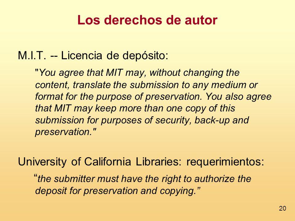 20 Los derechos de autor M.I.T. -- Licencia de depósito: