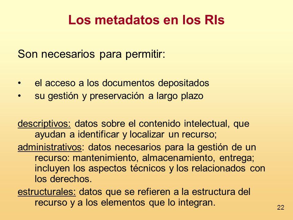 22 Son necesarios para permitir: el acceso a los documentos depositados su gestión y preservación a largo plazo descriptivos: datos sobre el contenido