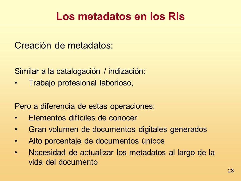 23 Creación de metadatos: Similar a la catalogación / indización: Trabajo profesional laborioso, Pero a diferencia de estas operaciones: Elementos dif