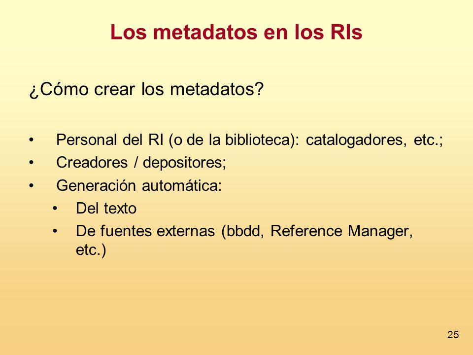 25 ¿Cómo crear los metadatos? Personal del RI (o de la biblioteca): catalogadores, etc.; Creadores / depositores; Generación automática: Del texto De
