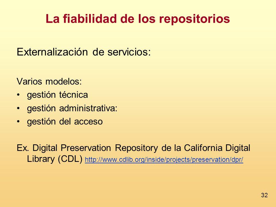 32 La fiabilidad de los repositorios Externalización de servicios: Varios modelos: gestión técnica gestión administrativa: gestión del acceso Ex. Digi