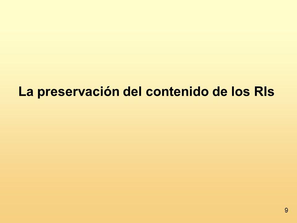 10 La preservación del contenido de los RIs ¿Qué material hay en los RIs.