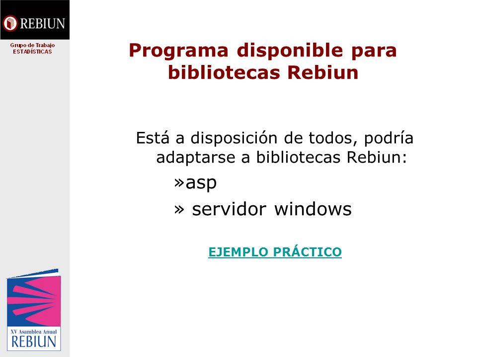 Programa disponible para bibliotecas Rebiun Está a disposición de todos, podría adaptarse a bibliotecas Rebiun: »asp » servidor windows EJEMPLO PRÁCTICO