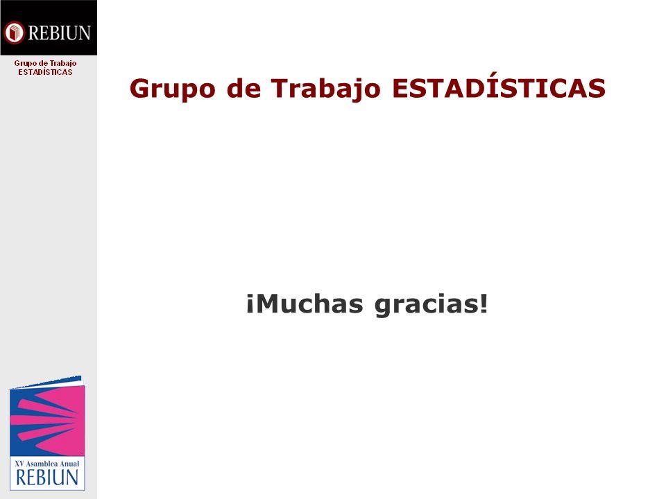 Grupo de Trabajo ESTADÍSTICAS ¡Muchas gracias!