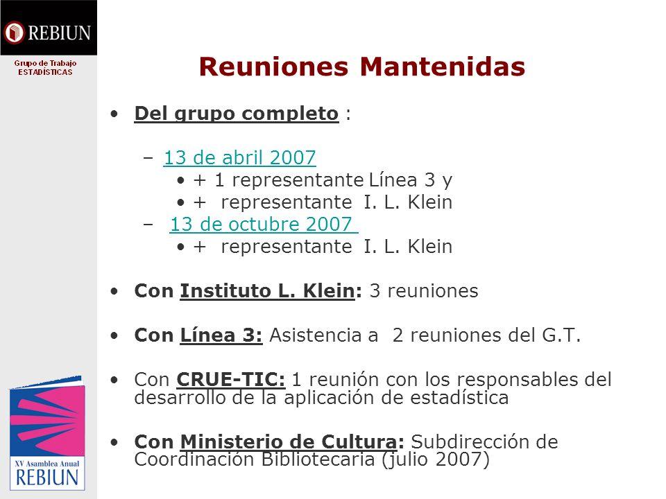 Reuniones Mantenidas Del grupo completo : –13 de abril 200713 de abril 2007 + 1 representante Línea 3 y + representante I.