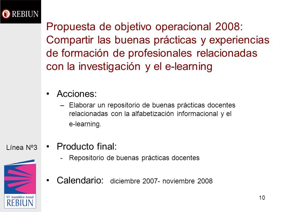 10 Propuesta de objetivo operacional 2008: Compartir las buenas prácticas y experiencias de formación de profesionales relacionadas con la investigaci