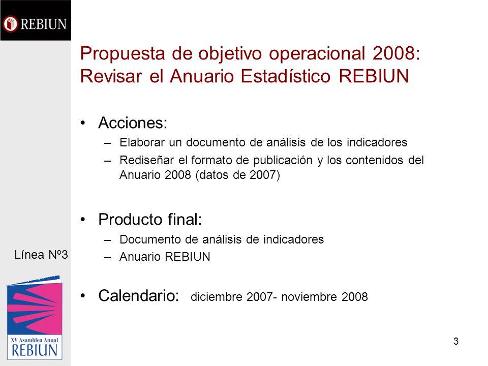 3 Propuesta de objetivo operacional 2008: Revisar el Anuario Estadístico REBIUN Acciones: –Elaborar un documento de análisis de los indicadores –Redis
