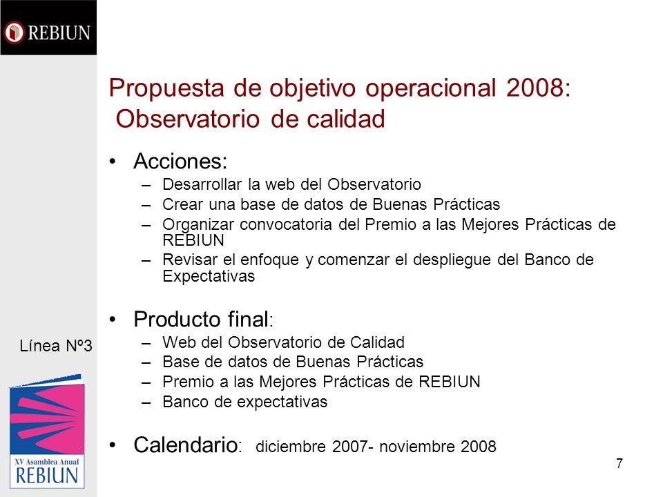 7 Propuesta de objetivo operacional 2008: Observatorio de calidad Acciones: –Desarrollar la web del Observatorio –Crear una base de datos de Buenas Pr