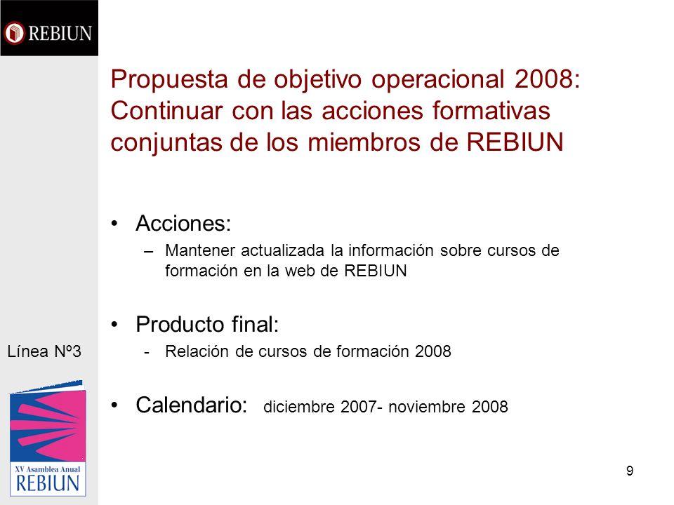 9 Propuesta de objetivo operacional 2008: Continuar con las acciones formativas conjuntas de los miembros de REBIUN Acciones: –Mantener actualizada la información sobre cursos de formación en la web de REBIUN Producto final: -Relación de cursos de formación 2008 Calendario: diciembre 2007- noviembre 2008 Línea Nº3