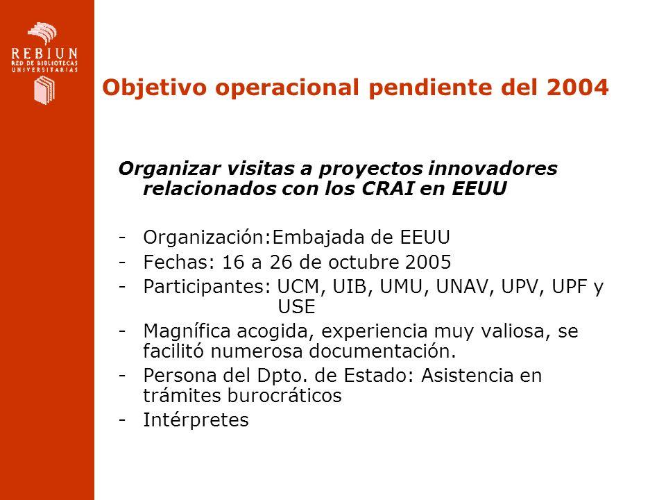 Objetivo operacional pendiente del 2004 Organizar visitas a proyectos innovadores relacionados con los CRAI en EEUU -Organización:Embajada de EEUU -Fechas: 16 a 26 de octubre 2005 -Participantes: UCM, UIB, UMU, UNAV, UPV, UPF y USE -Magnífica acogida, experiencia muy valiosa, se facilitó numerosa documentación.