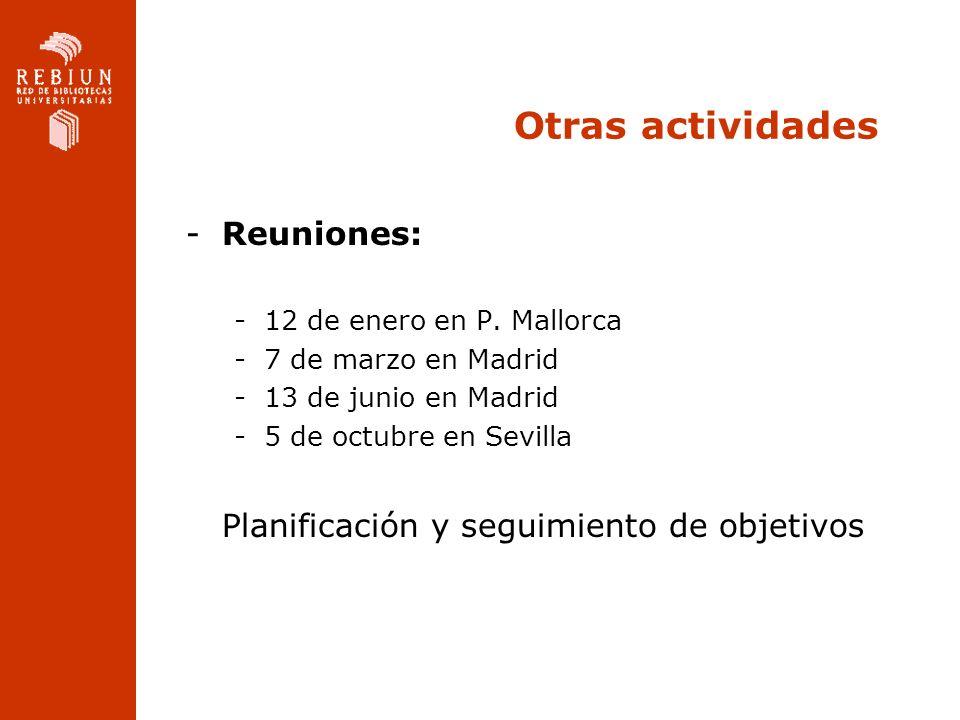 Otras actividades -Reuniones: -12 de enero en P. Mallorca -7 de marzo en Madrid -13 de junio en Madrid -5 de octubre en Sevilla Planificación y seguim