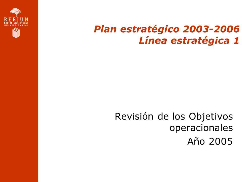Plan estratégico 2003-2006 Línea estratégica 1 Revisión de los Objetivos operacionales Año 2005
