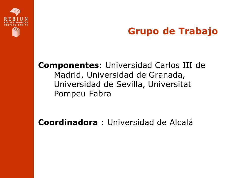 Grupo de Trabajo Componentes: Universidad Carlos III de Madrid, Universidad de Granada, Universidad de Sevilla, Universitat Pompeu Fabra Coordinadora : Universidad de Alcalá