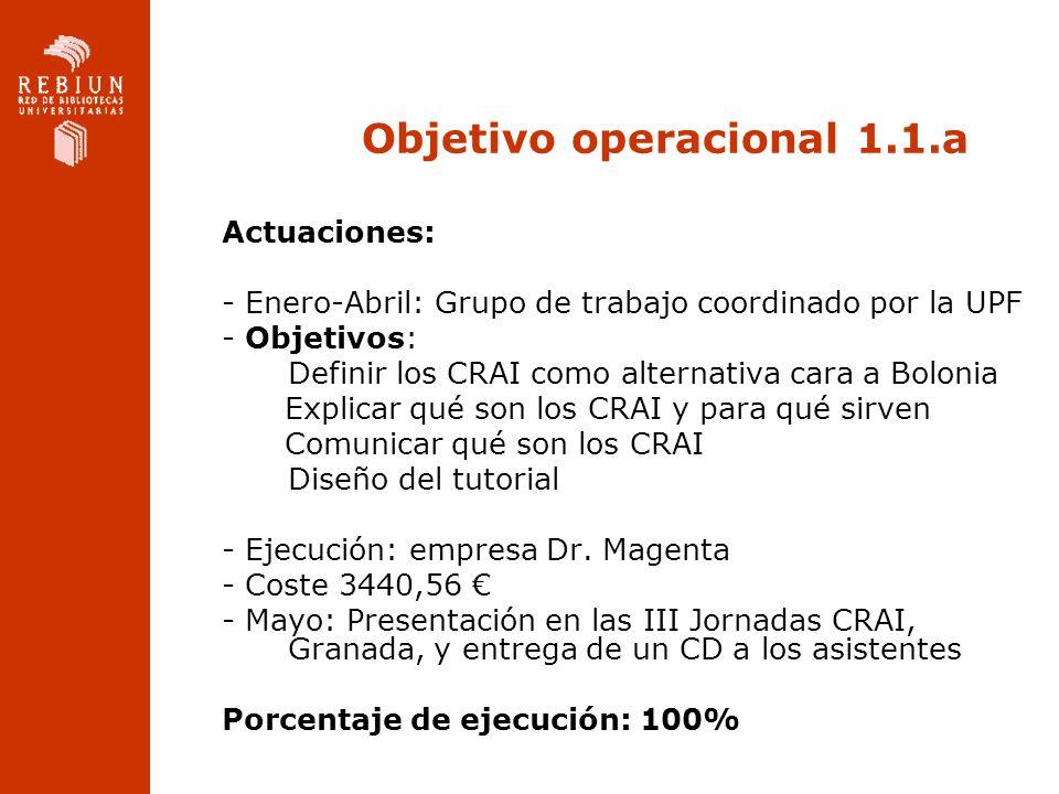 Objetivo operacional 1.1.a Actuaciones: - Enero-Abril: Grupo de trabajo coordinado por la UPF - Objetivos: Definir los CRAI como alternativa cara a Bolonia Explicar qué son los CRAI y para qué sirven Comunicar qué son los CRAI Diseño del tutorial - Ejecución: empresa Dr.