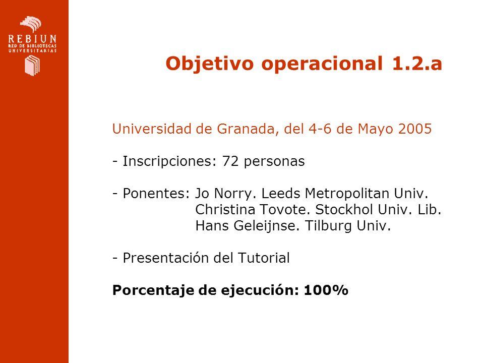 Objetivo operacional 1.2.a Universidad de Granada, del 4-6 de Mayo 2005 - Inscripciones: 72 personas - Ponentes: Jo Norry. Leeds Metropolitan Univ. Ch