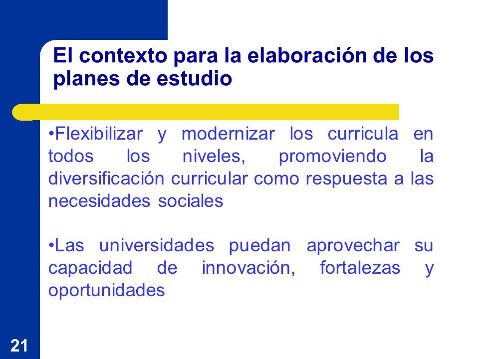 21 El contexto para la elaboración de los planes de estudio Flexibilizar y modernizar los curricula en todos los niveles, promoviendo la diversificación curricular como respuesta a las necesidades sociales Las universidades puedan aprovechar su capacidad de innovación, fortalezas y oportunidades