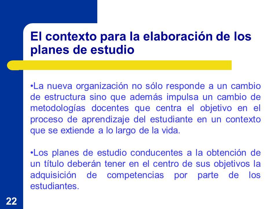 22 El contexto para la elaboración de los planes de estudio La nueva organización no sólo responde a un cambio de estructura sino que además impulsa u