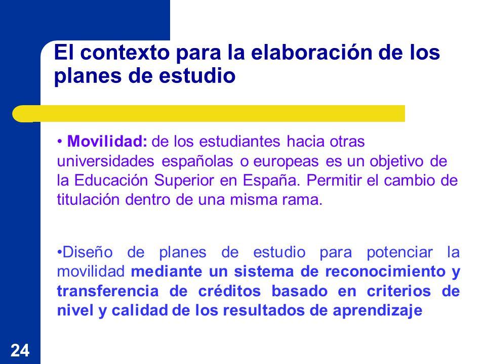 24 El contexto para la elaboración de los planes de estudio Movilidad: de los estudiantes hacia otras universidades españolas o europeas es un objetivo de la Educación Superior en España.