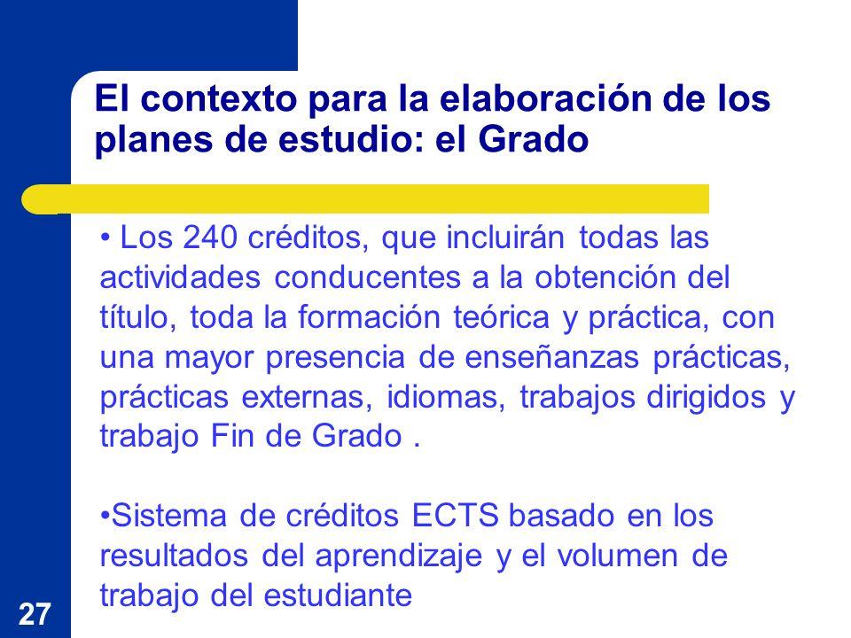27 El contexto para la elaboración de los planes de estudio: el Grado Los 240 créditos, que incluirán todas las actividades conducentes a la obtención