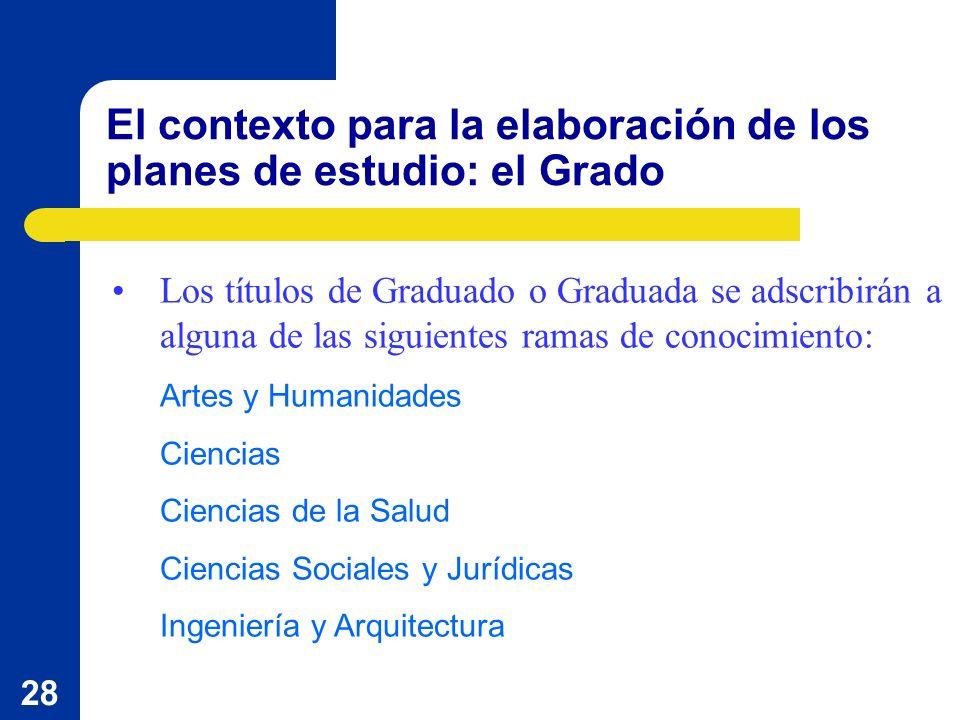 28 El contexto para la elaboración de los planes de estudio: el Grado Los títulos de Graduado o Graduada se adscribirán a alguna de las siguientes ram