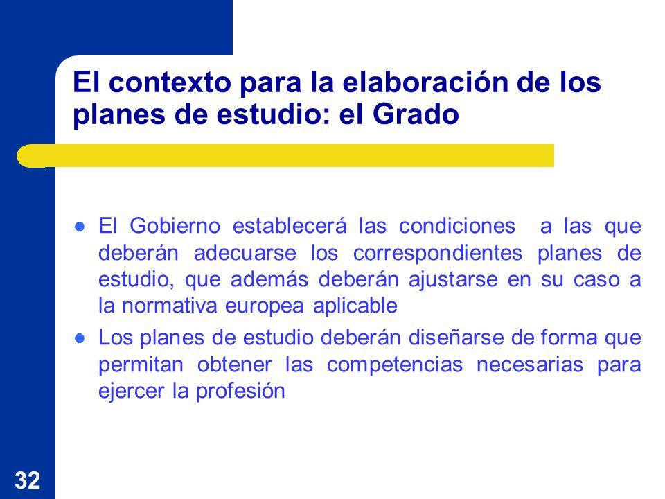 32 El contexto para la elaboración de los planes de estudio: el Grado El Gobierno establecerá las condiciones a las que deberán adecuarse los correspo