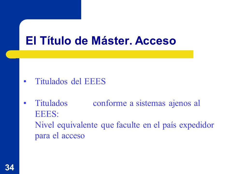 34 El Título de Máster. Acceso Titulados del EEES Titulados conforme a sistemas ajenos al EEES: Nivel equivalente que faculte en el país expedidor par