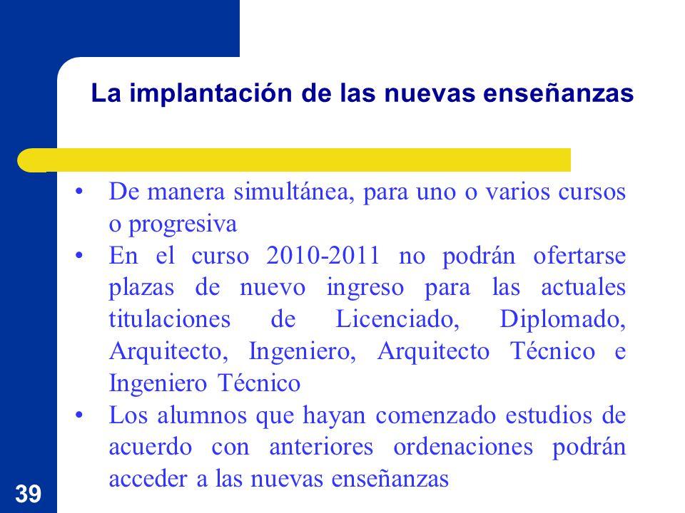 39 La implantación de las nuevas enseñanzas De manera simultánea, para uno o varios cursos o progresiva En el curso 2010-2011 no podrán ofertarse plaz