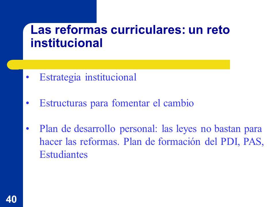 40 Las reformas curriculares: un reto institucional Estrategia institucional Estructuras para fomentar el cambio Plan de desarrollo personal: las leyes no bastan para hacer las reformas.