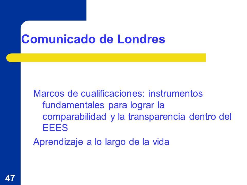 47 Comunicado de Londres Marcos de cualificaciones: instrumentos fundamentales para lograr la comparabilidad y la transparencia dentro del EEES Aprendizaje a lo largo de la vida