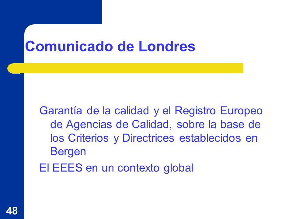 48 Comunicado de Londres Garantía de la calidad y el Registro Europeo de Agencias de Calidad, sobre la base de los Criterios y Directrices establecidos en Bergen El EEES en un contexto global