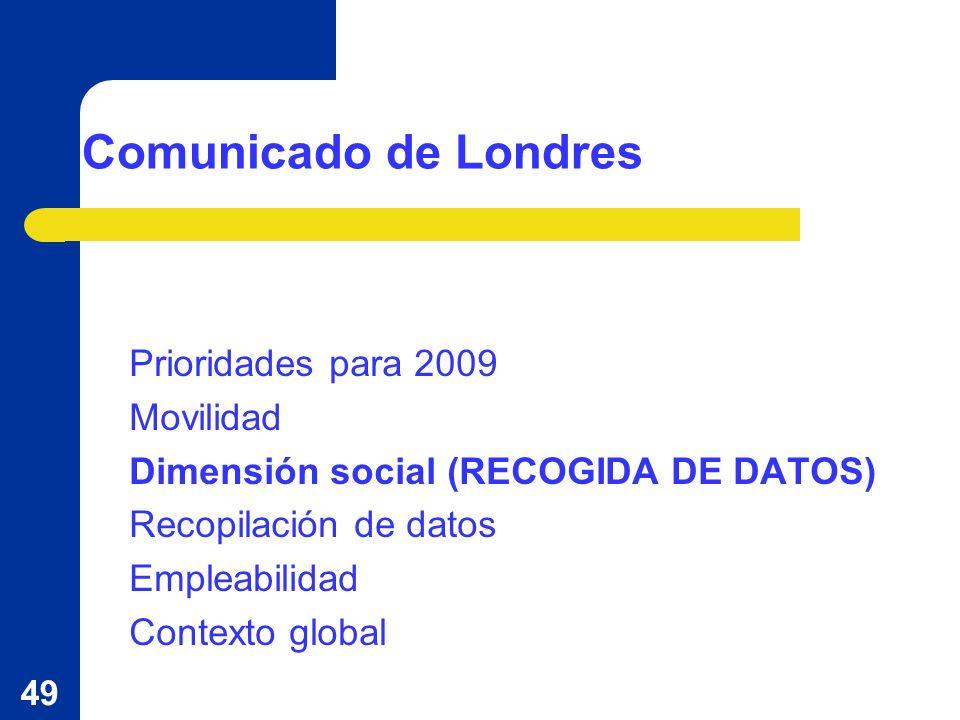 49 Comunicado de Londres Prioridades para 2009 Movilidad Dimensión social (RECOGIDA DE DATOS) Recopilación de datos Empleabilidad Contexto global